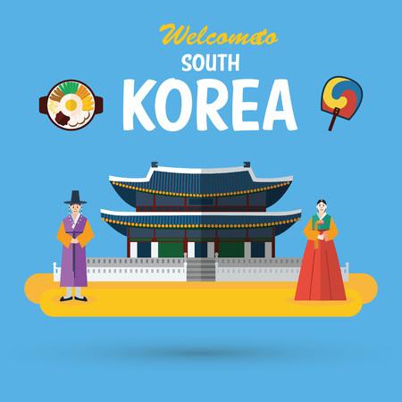 Diseño plano, punto de referencia y los iconos de Corea del Sur