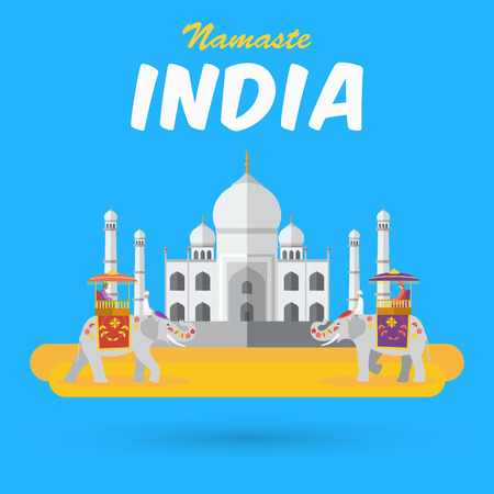 India landmarks and icons with word Namaste means a respectful greeting in Hindu custom