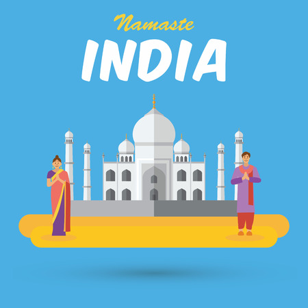 respectful: India landmarks and icons with word Namaste means a respectful greeting in Hindu custom