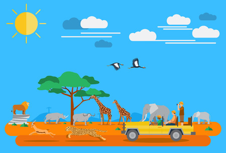 wildlife: Flat design, African wildlife and icons Illustration