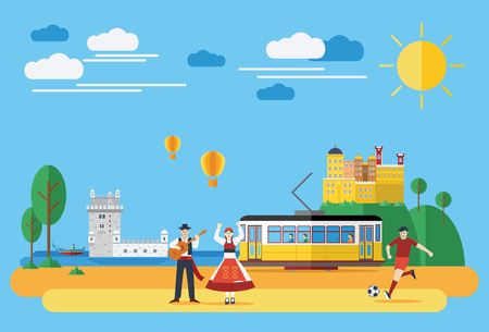 Flat design, Portuguese landmarks and icons Illustration