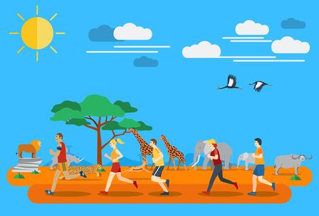tanzania: Flat design, people running in Africa
