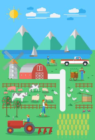 farming: Flat design, Organic farming.
