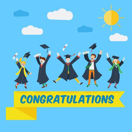 alto: Diseño plano, estudiantes universitarios celebran su graduación. Vectores