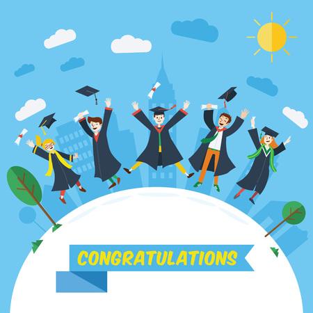 Diseño plano, estudiantes universitarios celebran su graduación.