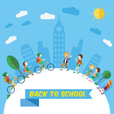 Flat design, Students going to school