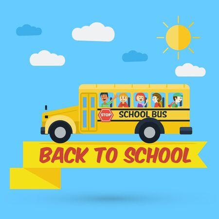 school bag: Flat design, Students on school bus Illustration