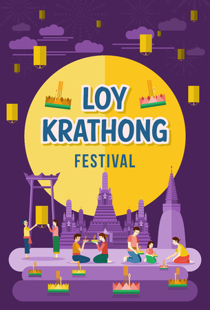 wat arun: Loy Krathong. Thailand festival of paying respect to the water spirits. Illustration