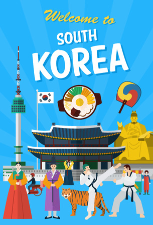 kwon: Flat design, Illustration of South Korean landmarks and icons Illustration