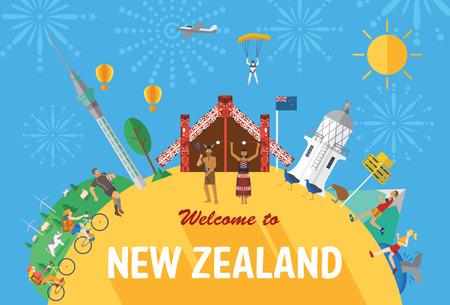 Diseño plano, puntos de referencia y los iconos de Nueva Zelanda