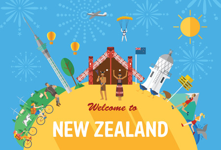 Flat design, New Zealand's landmarks and icons Stock Illustratie