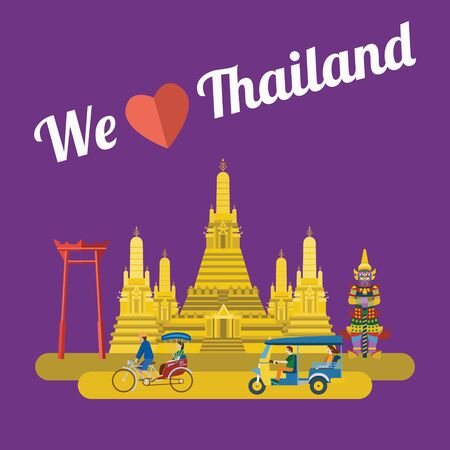 Flat design, Thailand landmarks and icons