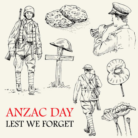 world wars: Hand drawn of Anzac icons Illustration