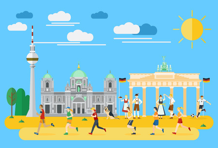 Flat design, Group of people running in Germany 向量圖像