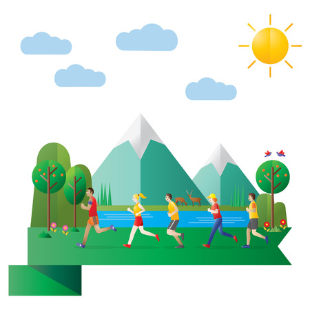 Flat design, Illustration of group of people running in countryside