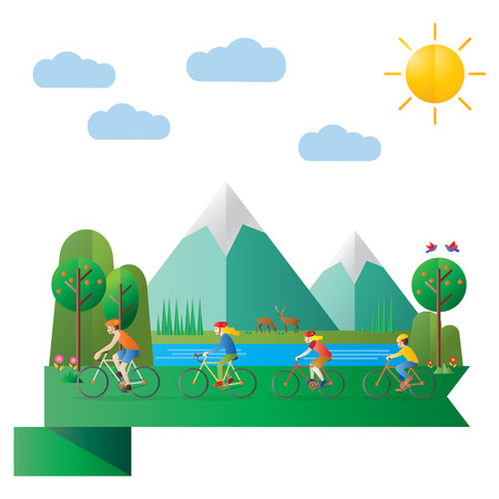 Flat design, Illustration of happy family riding bicycles in forest Illustration
