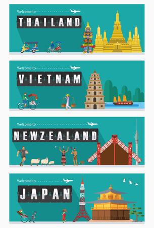 zealand: Flat design, Illustration of famous landmarks and icons. Illustration