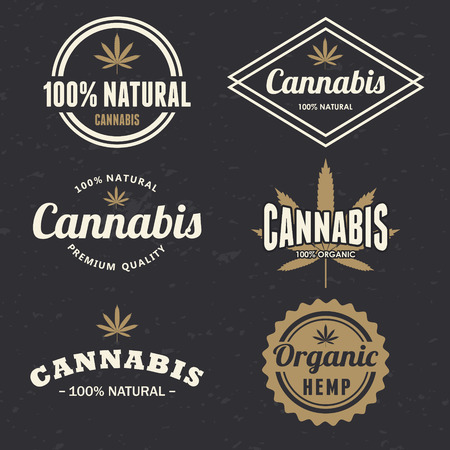 Cannabis labels Ilustrace