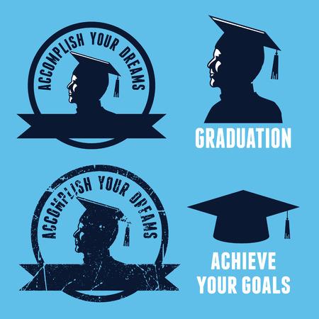 uni: Silhouette graduate icons Illustration