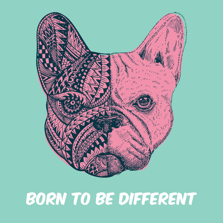 Hand drawn French Bulldog with text Born to be different, Zentangle stylized