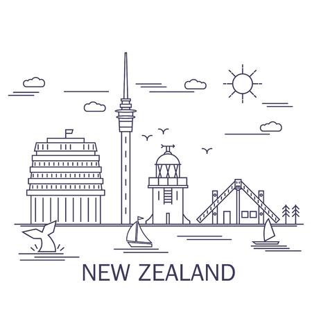 línea estilo del arte, monumentos de Nueva Zelanda Ilustración de vector