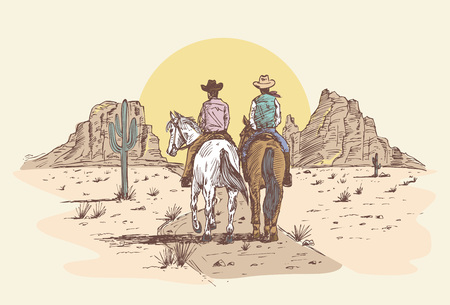 Hand drawn cowboys riding horses in desert at sunset. Stock Illustratie