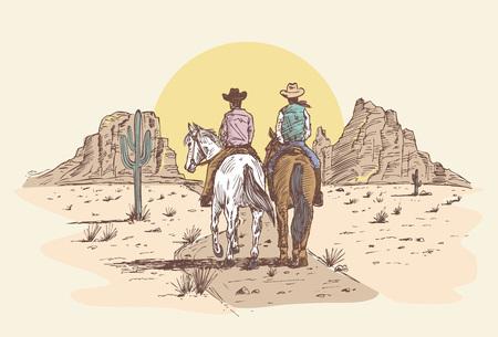 Hand drawn cowboys riding horses in desert at sunset. Illustration