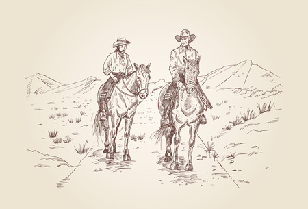 romance: Hand drawn cowboys riding horses in desert Illustration