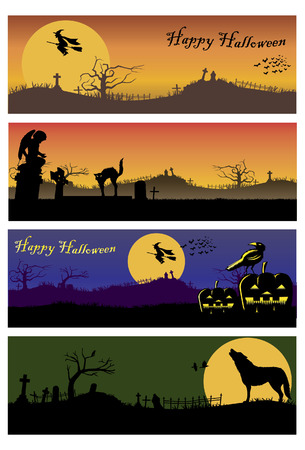 Halloween scenery background with witch and cat walking back from work, vector