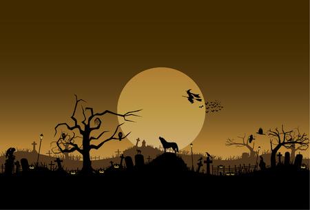 angel cemetery: Halloween background, vector