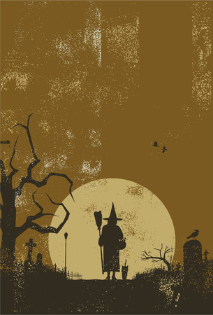 angel cemetery: Halloween scenery background with witch and cat walking back from work, vector