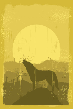 Wolf howling background, vector 向量圖像