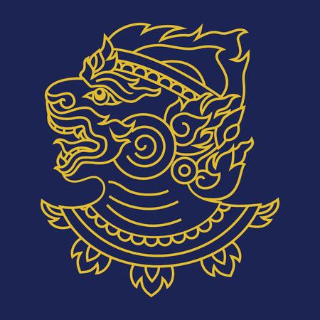 hanuman: Thai art design, Hanuman monkey head outline vector