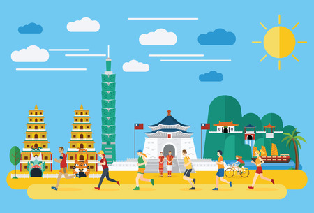 Flat design, Group of people running in Taiwan, vector