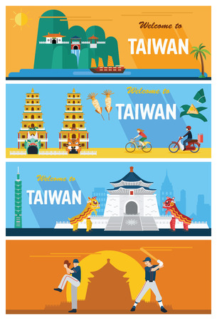 Flat design, Illustration of Taiwan s landmarks and icons, vector
