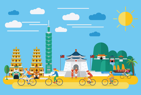 Flat design, Happy family riding bicycles in Taiwan, vector