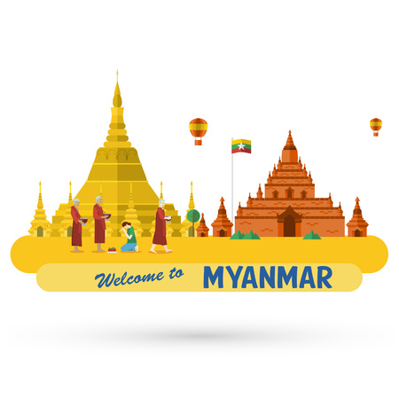 ミャンマー旅行のランドマーク  イラスト・ベクター素材