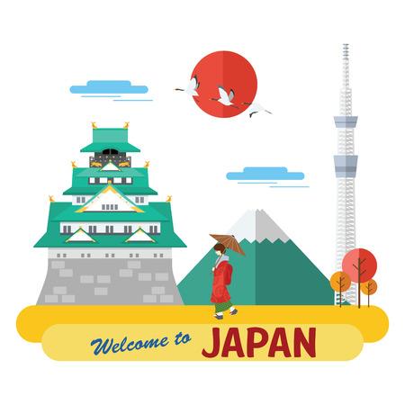 Dessin plat, Illustration du château d'Osaka, du Mont Fuji, de Tokyo Skytree et de la Geisha, vecteur Banque d'images - 68286785