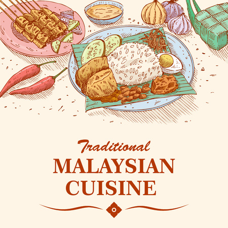 Hand drawn of Malaysian food, Nasi Lemak curry paste with rice and Chicken Satay, vector