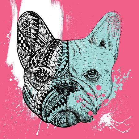 stylized French Bulldog with paint splatters, Hand drawn illustration