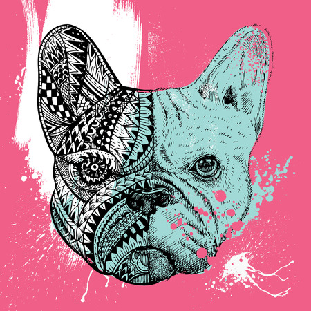 french: stylized French Bulldog with paint splatters, Hand drawn illustration