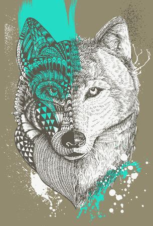 Zentangle stylized wolf with paint splatters, Hand drawn illustration