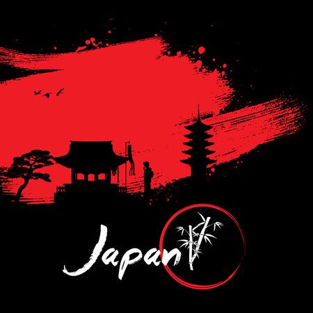 Abstract Japanese Background, Silhouette of geisha praying at shrine on brush stroke