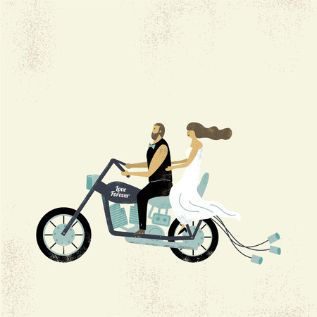 Wedding couple on motorbike with text save the date, vector