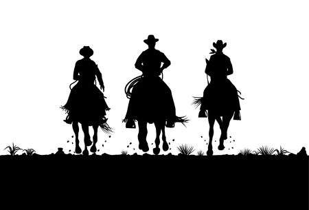 Silhouette of three cowboys riding horses, Vector