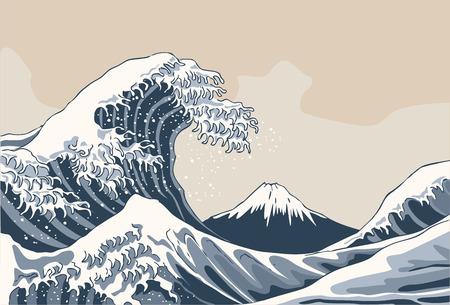 La grande onda, giappone sfondo. illustrazione disegnata a mano Vettoriali
