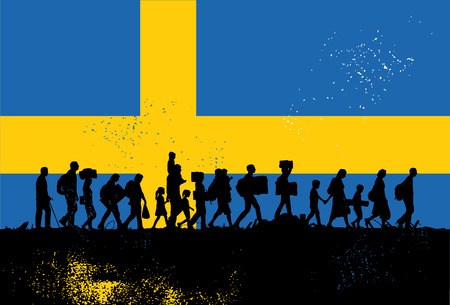 Silhouette of refugees walking with Flag of Sweden as a background, vector