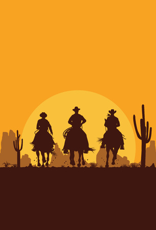 sundown: Silhouette of cowboys riding horses at sunset, Vector