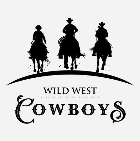 Silhouette of cowboys riding horses label, Vector