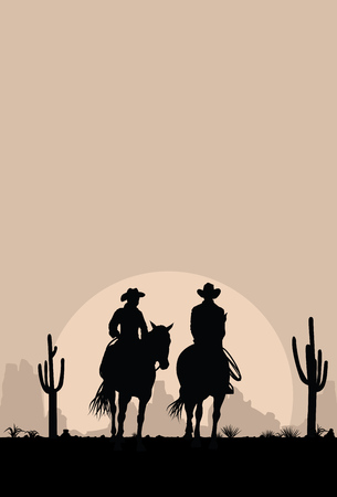 Silhouette of Cowboy Couple riding horses at sunset, vector 版權商用圖片 - 74951955
